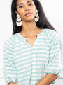 Womens Teal/White Stripes THE ANTOINETTE SHIRT 2