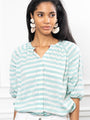 Womens Teal/White Stripes THE ANTOINETTE SHIRT