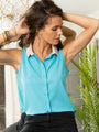 Womens Turquoise w/ Pink Collar The Signature Sleeveless Shirt 2