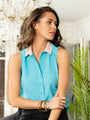 Womens Turquoise w/ Pink Collar The Signature Sleeveless Shirt