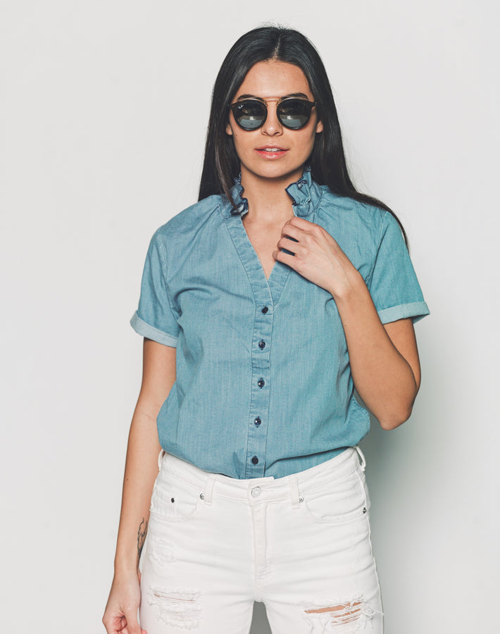 Womens Washed Denim The Short Sleeve Loose Back Shirt
