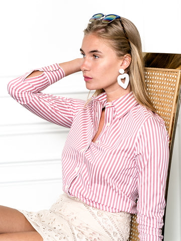 Womens Washed Red/White The Icon Shirt in Stripe