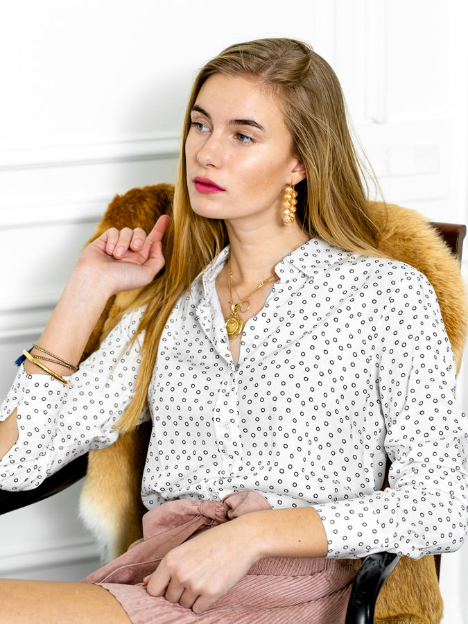 Womens White/Black The Signature Shirt in White w/ Black Circles