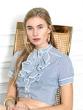 Womens White/Blue Cotton Stripe The Short Sleeve Ruffled Shirt