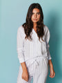 Womens White/Blue/Silver Lurex Stripe The Long Sleeve Pajama Set 2
