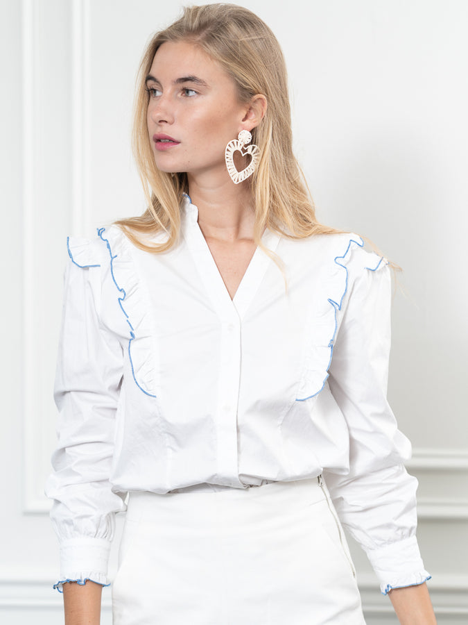 Womens White/Blue The Madeline Shirt