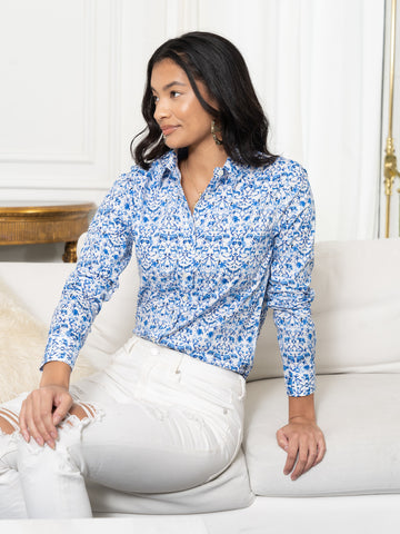 Womens White/Blue The Icon Shirt in Blue Summer Safari