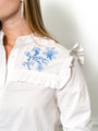 Womens White/Blue The Trapeze Shirt with Blue Embroidery 2
