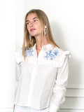 Womens White/Blue The Trapeze Shirt with Blue Embroidery 4