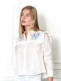 Womens White/Blue The Trapeze Shirt with Blue Embroidery 6
