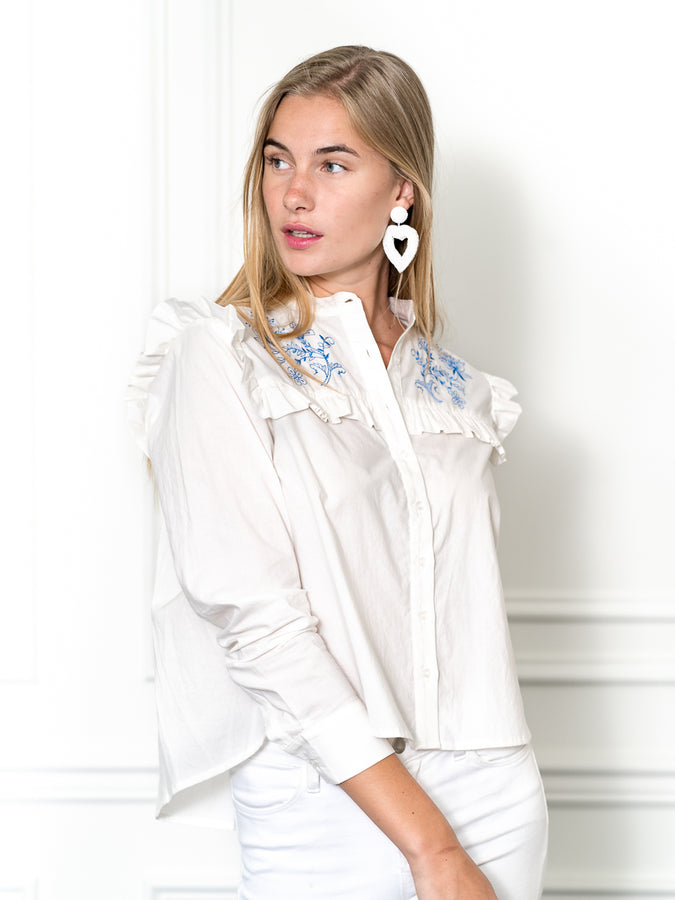 Womens White/Blue The Trapeze Shirt with Blue Embroidery