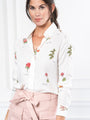 Womens White Botanical Print The Signature Shirt in White Botanical Print