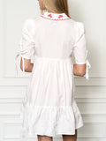 Womens White/Red The Babydoll Dress w Red Embroidery 2