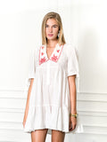 Womens White/Red The Babydoll Dress w Red Embroidery 4