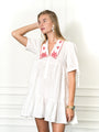 Womens White/Red The Babydoll Dress w Red Embroidery