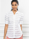 Womens White/White The Short Sleeve Puffed Shoulder Shirt 4