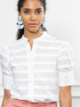 Womens White/White The Short Sleeve Puffed Shoulder Shirt