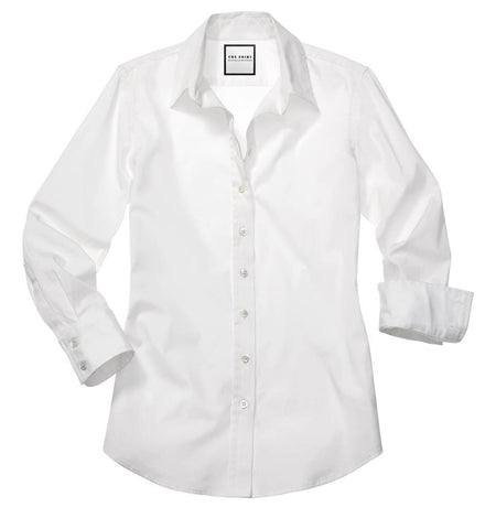 Womens White The 3/4 Sleeve Essentials Icon Shirt 4