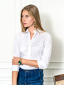Womens White The 3/4 Sleeve Essentials Icon Shirt