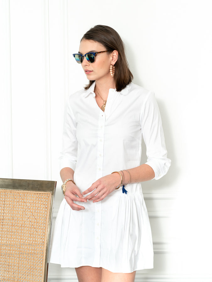Womens White The Drop Waist Shirt Dress