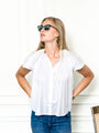 Womens White The Flutter Shoulder Short Sleeve Shirt 2