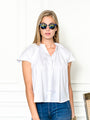 Womens White The Flutter Shoulder Short Sleeve Shirt
