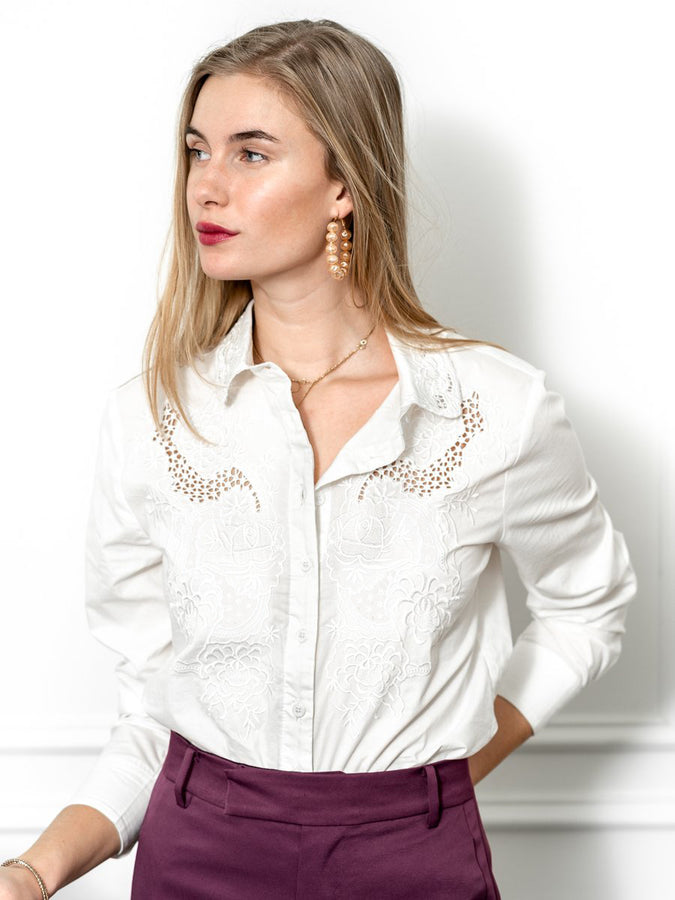 Womens White The Icon Shirt with Embroidery