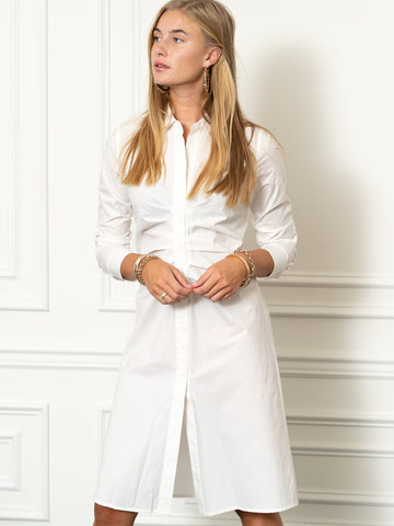 Womens White The Ruched Shirtdress
