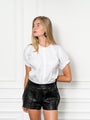 Womens White The Short Sleeve Elastic Arm Shirt 2