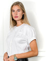 Womens White The Short Sleeve Elastic Arm Shirt