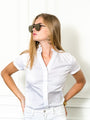 Womens White The Short Sleeve Shirt w/ Ruffle Collar 2