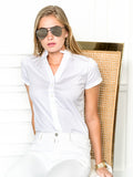 Womens White The Short Sleeve Shirt w/ Ruffle Collar 4
