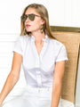 Womens White The Short Sleeve Shirt w/ Ruffle Collar