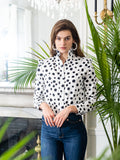 Womens White w/ Black Spots The Ruffle Collar Shirt 4