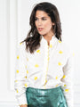 Womens White w/ Lemon The Icon Shirt w/ Scalloped Embroidery