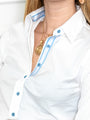 Womens White w/ Light Blue Buttons The Essentials Icon Shirt 2