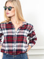 Womens Wine Plaid The Flannel Shirt 2