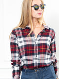 Womens Wine Plaid The Flannel Shirt 6