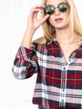Womens Wine Plaid The Flannel Shirt