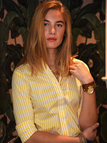 Womens Yellow/White The Icon Shirt in Stripe 2