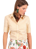 Womens Yellow/White The Short Sleeve Shirt