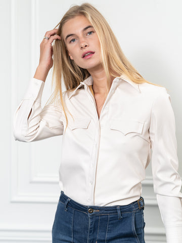Womens winter white The (Vegan) Leather Shirt