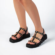 Jon Josef Alcon Lug Sole Sandal in Black Leather