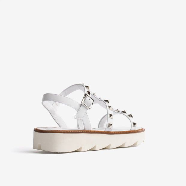 Jon Josef Alcon Lug Sole Sandal in White Leather