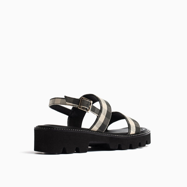 Jon Josef Arca Lug Sole Sandal in Black/White Gingham
