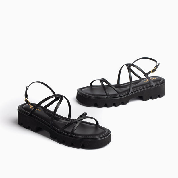 Jon Josef Asa Lug Sole Sandal in Black Leather