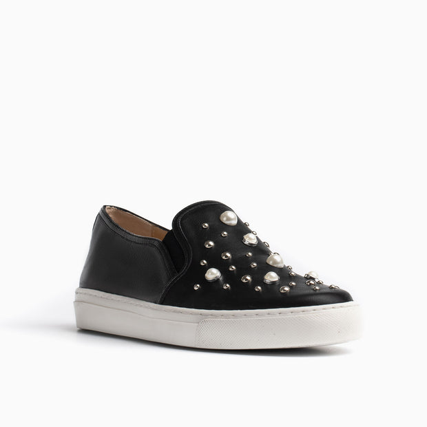 Jon Josef Bari Pearl Sneaker in Black Leather