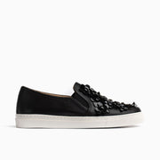 Jon Josef Bari Flower Sneaker in Black Leather/Black