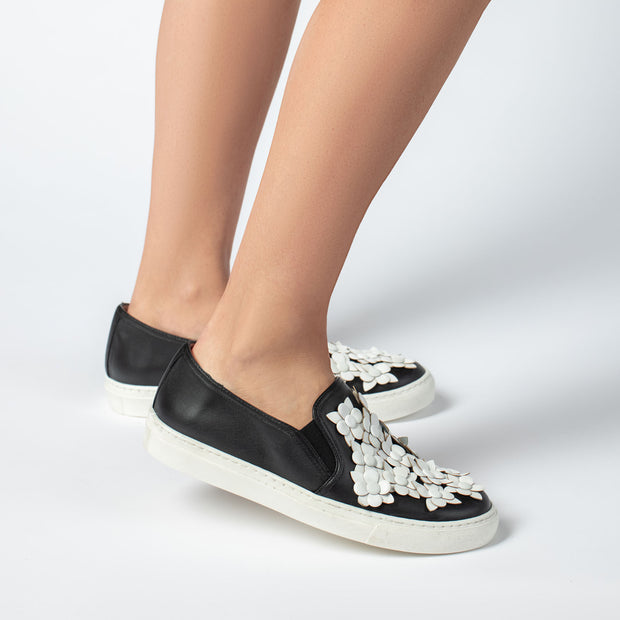 Jon Josef Bari Flower Sneaker in Black Leather/White