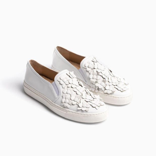 Jon Josef Bari Flower Sneaker in White Leather/White